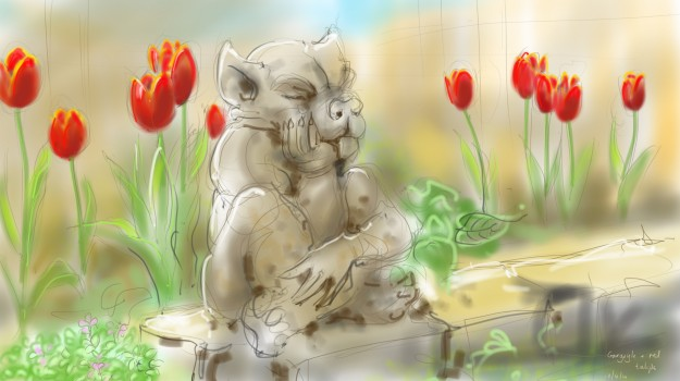 Gargoyle amongst red tulips