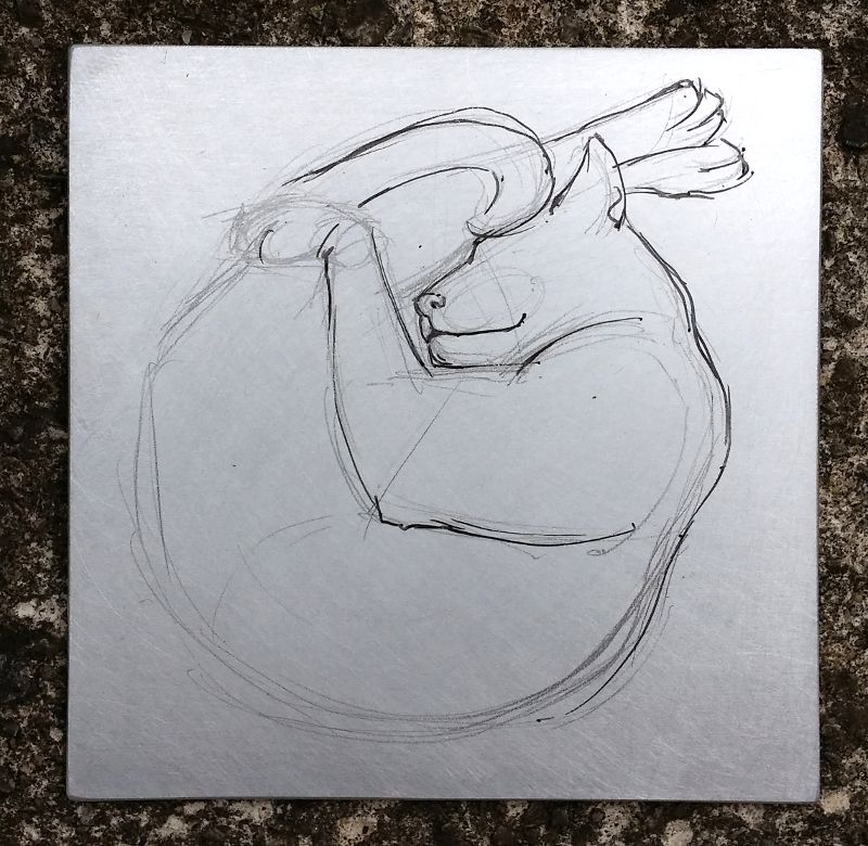 Aluminium plate with drawing first in pencil and then fineliner penAluminium plate with drawing first in pencil and then fineliner pen