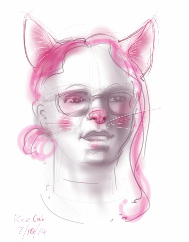 Kez as a pink cat