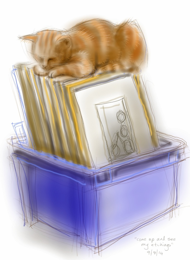 Arthur Cat guards the Etchings