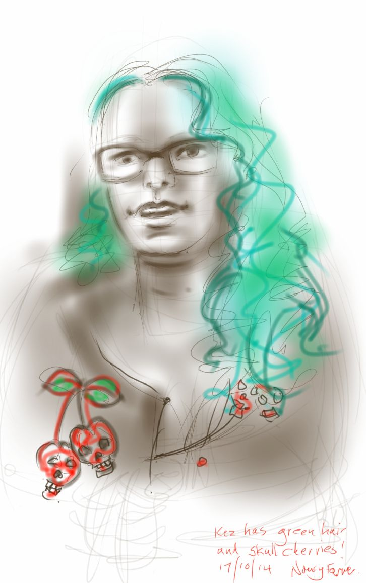 Kez with green hair and skull cherries