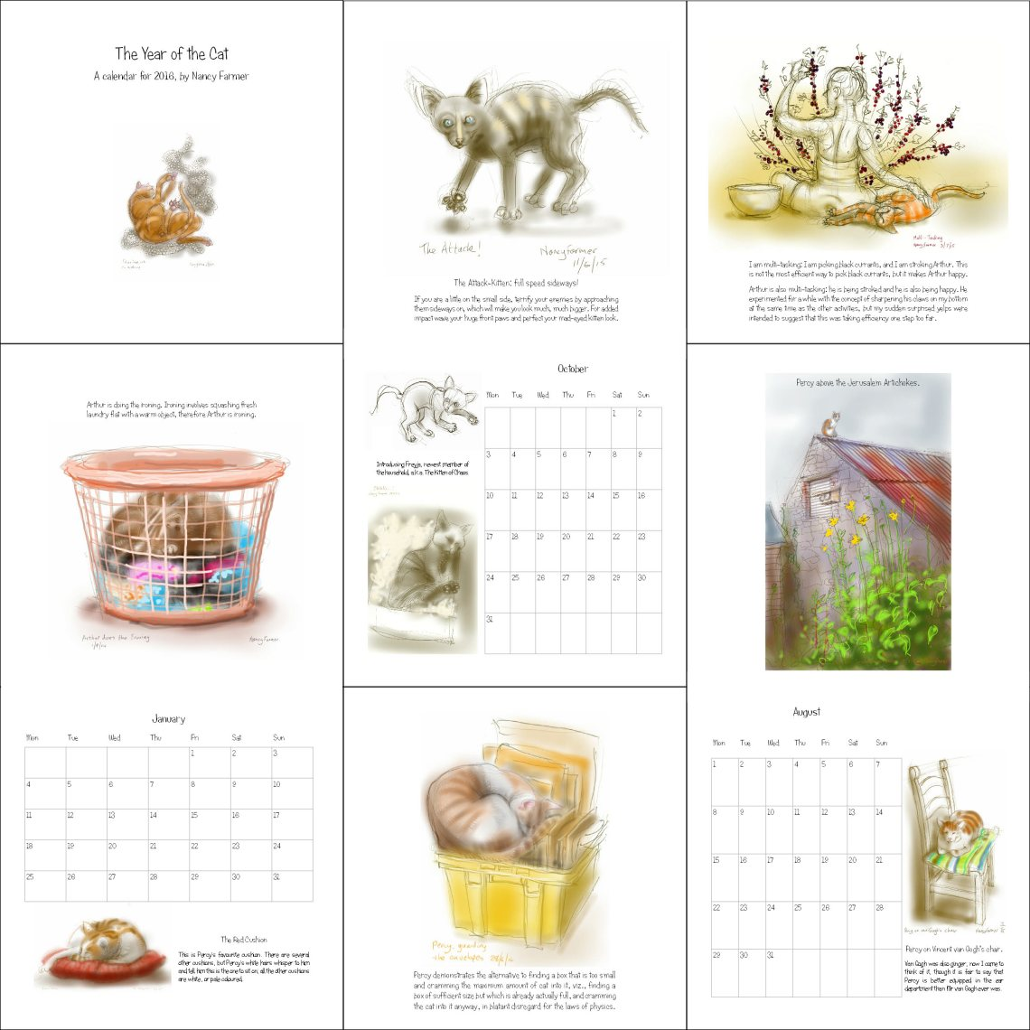 The Year of the Cat - a calendar for 2016 by Nancy Farmer
