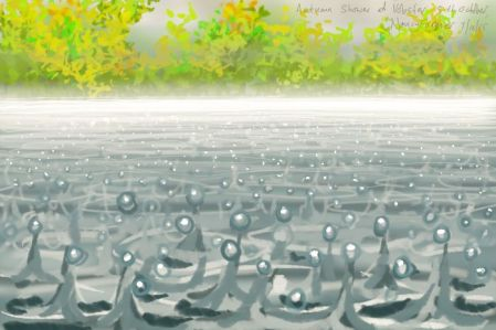 Raindrops on water, at Vobster