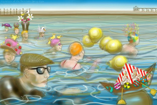 The Silly Hat Swim at Clevedon Marine Lake Opening