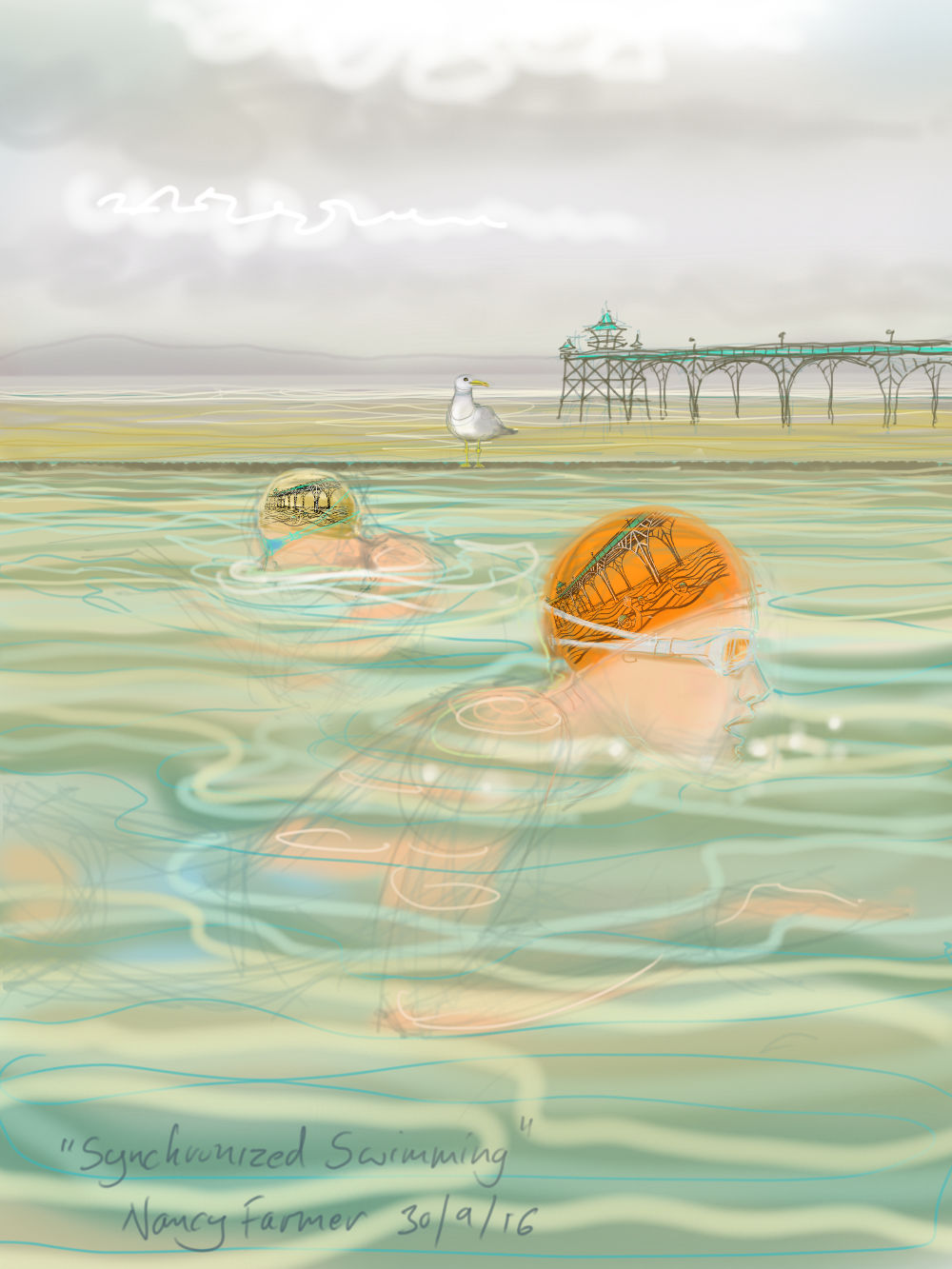 Swimming at Clevedon in our special Pier hats