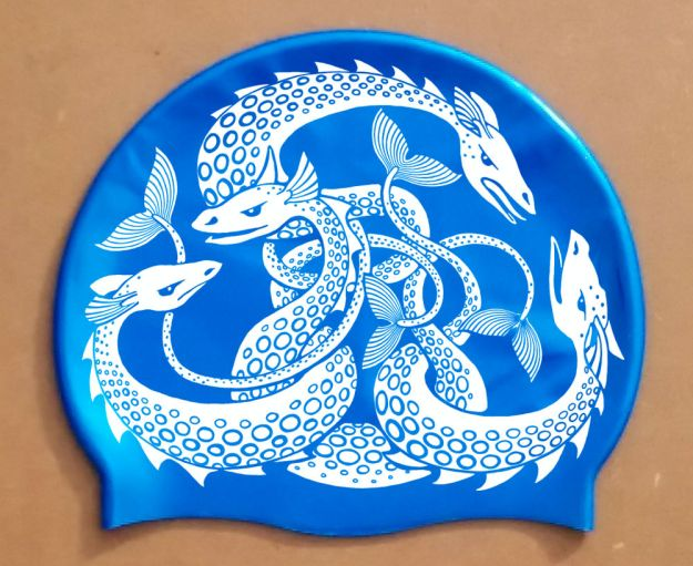 Sea Monster Hat, white on blue