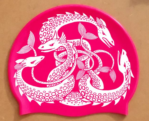 Sea Monster Hat, white on pink