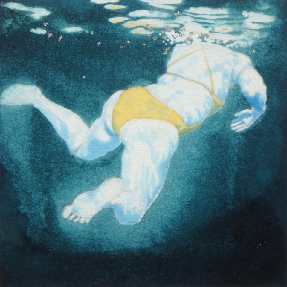 Mini Swimmer 17 in gouache and gold leaf