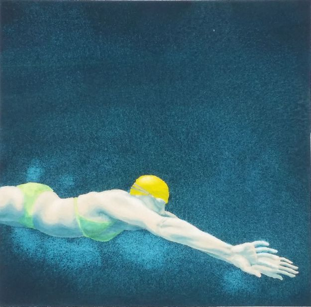 Mini Swimmer 25 in gouache