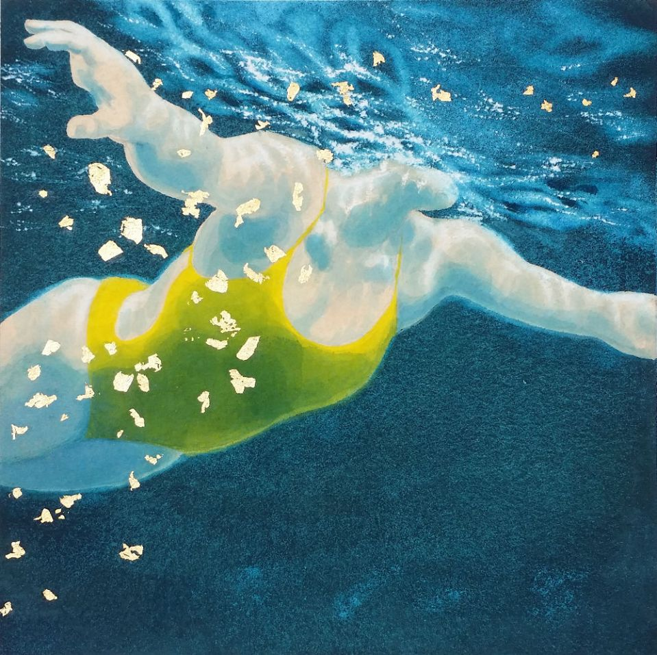 Mini Swimmer 27 in gouache and gold leaf