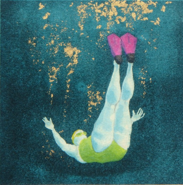 Mini Swimmer 9 in gouache and gold leaf
