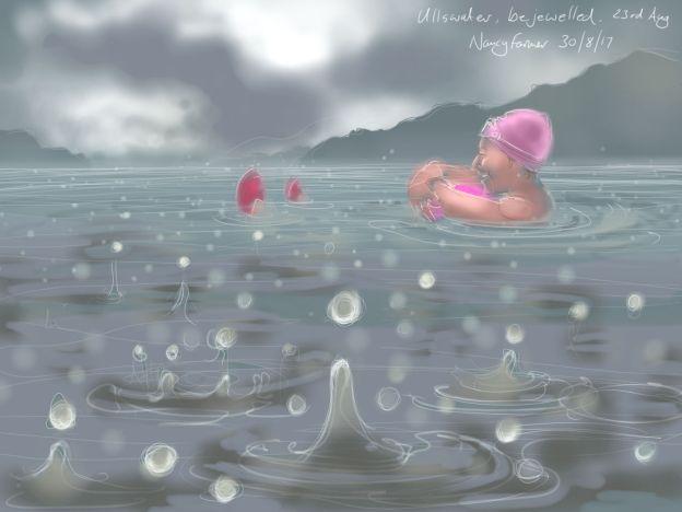 Ullswater in the rain - drawing