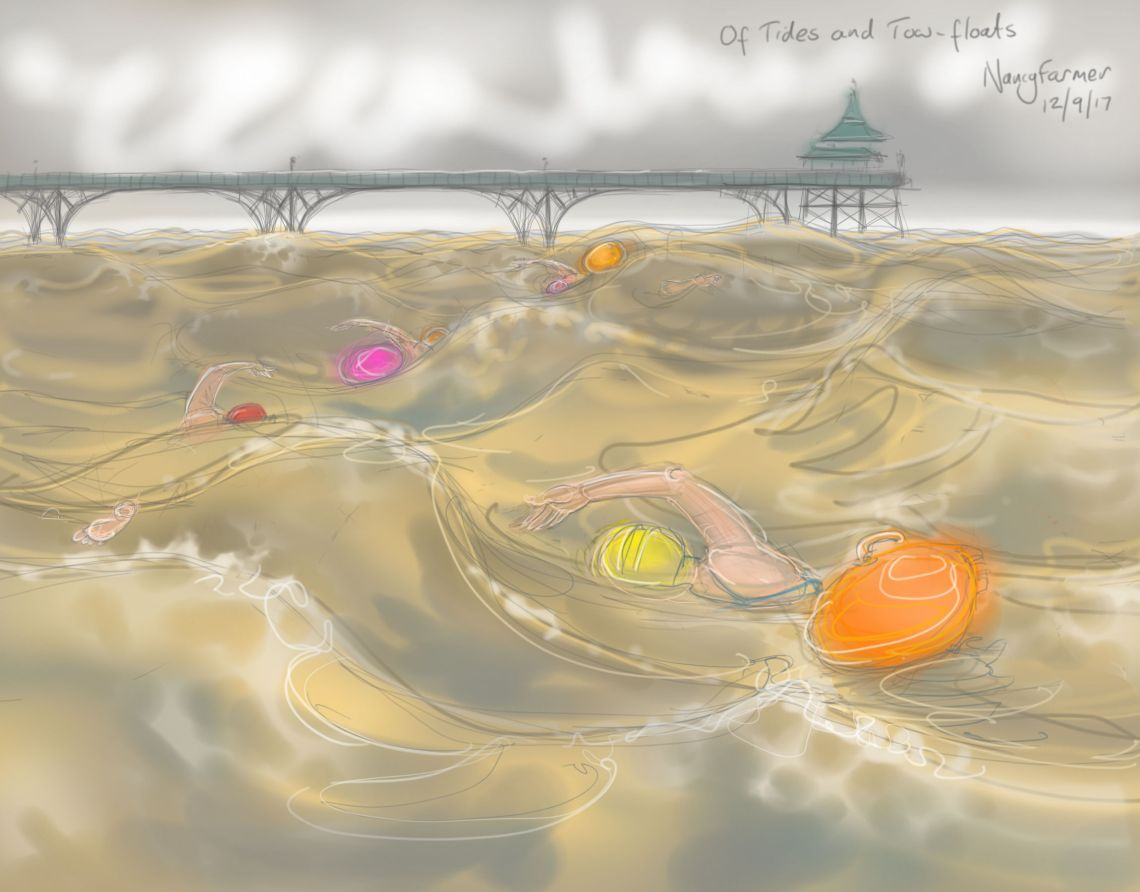 Of Tides & Tow-Floats - drawing by Nancy Farmer