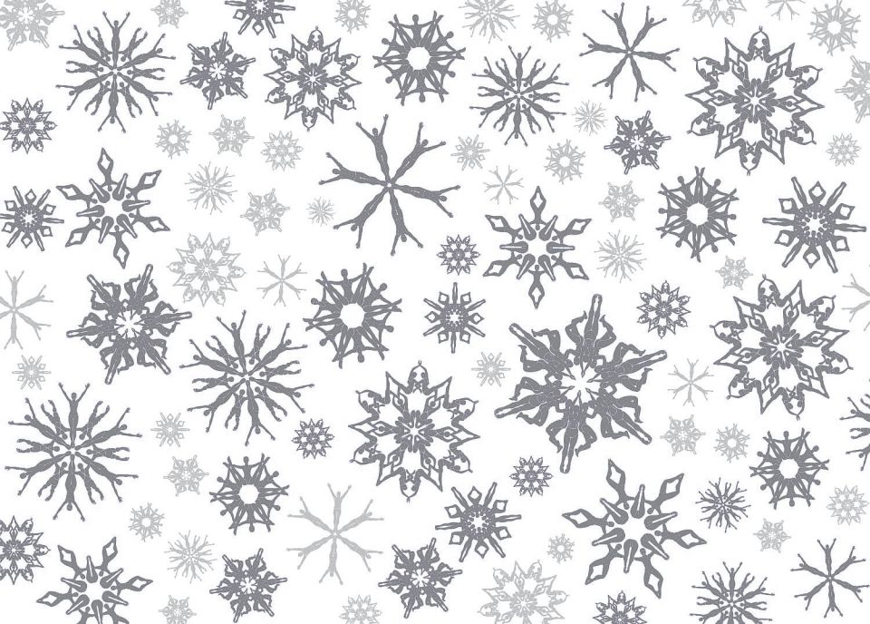 Swimflakes silver wrapping paper, with no repeat pattern.