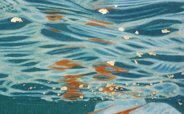 detail of 'Reflections III' with gold leaf fragments