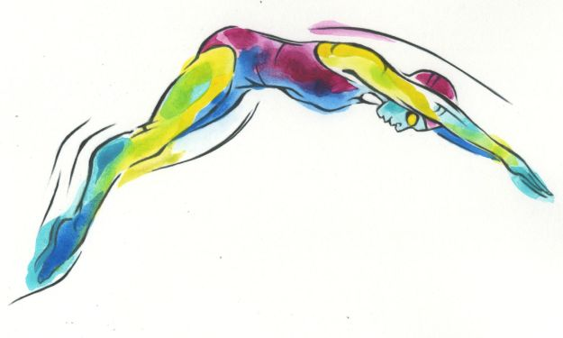Coloured swimmer
