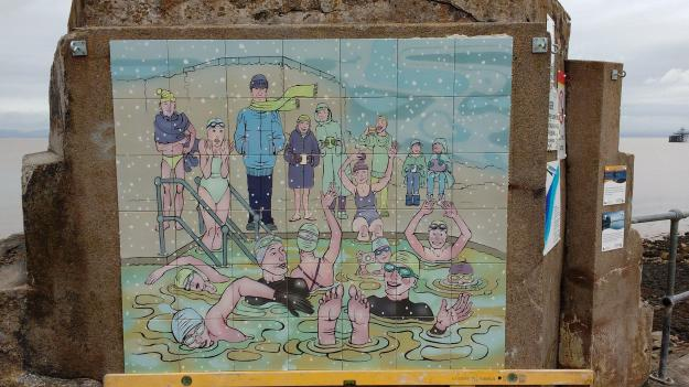 The Clevedon Swimmers tiles installed