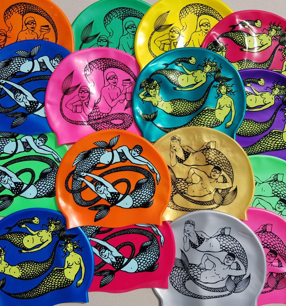 Mermaid Swimming hats designed by Nancy Farmer