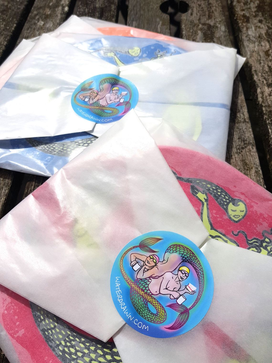 Wrapped hats with my lovely new mermaid stickers!