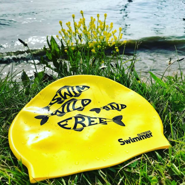 Yellow 'Swim Wild and Free' hat