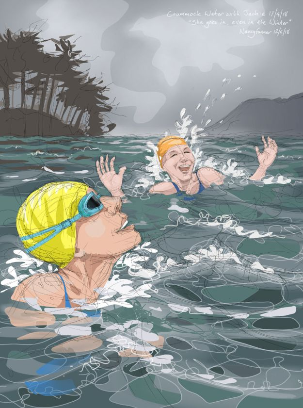 Swimming with Jackie in Crummock Water, Cumbria