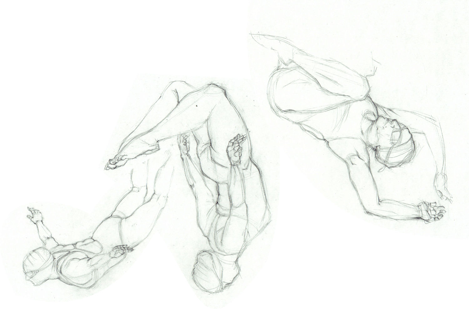 Wednesday swimmers - pencil sketches