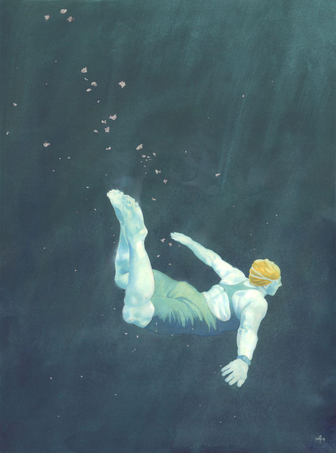 Lisa - swimmer painting in watercolour by Nancy Farmer