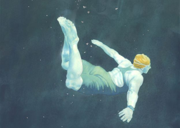 Lisa - swimmer painting in watercolour by Nancy Farmer - detail