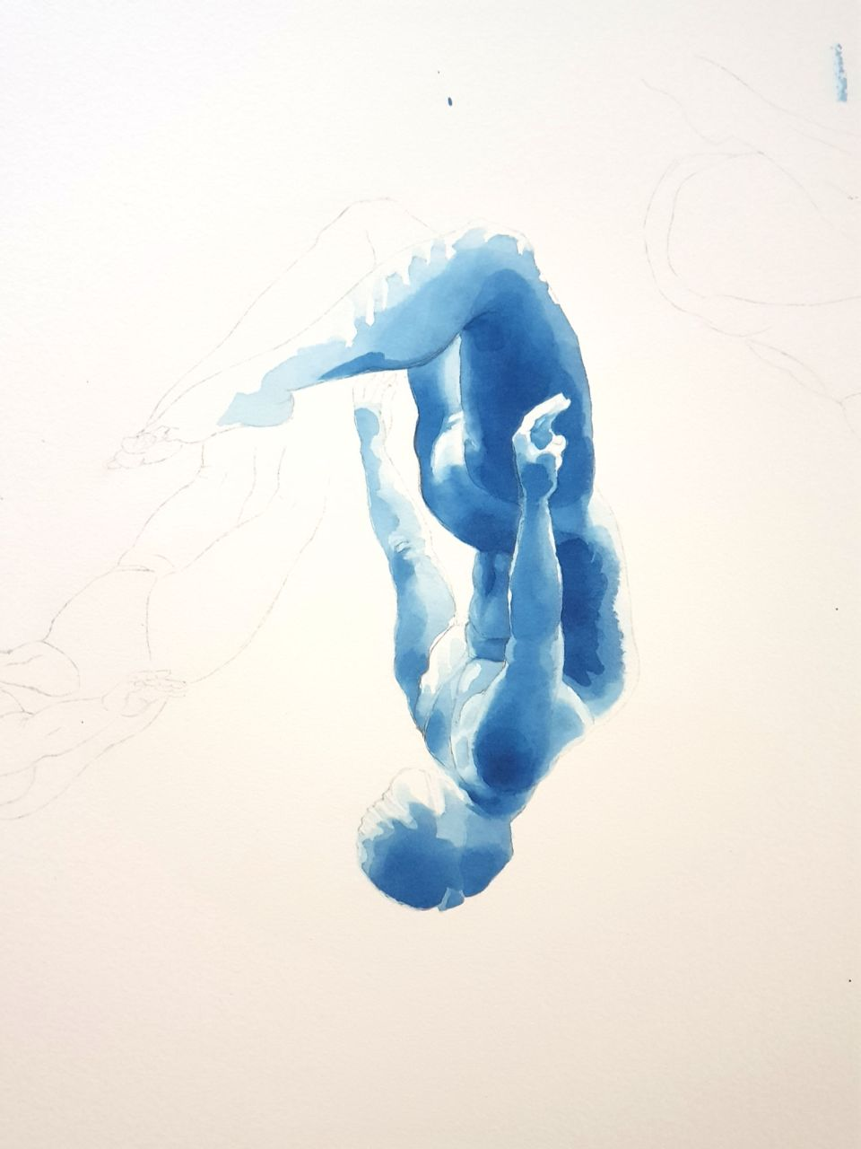 Pencil outlines and underpainting in Prussian blue