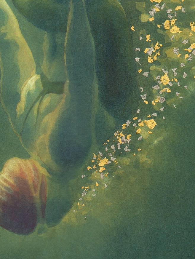 Detail of tiny fragments of gold leaf