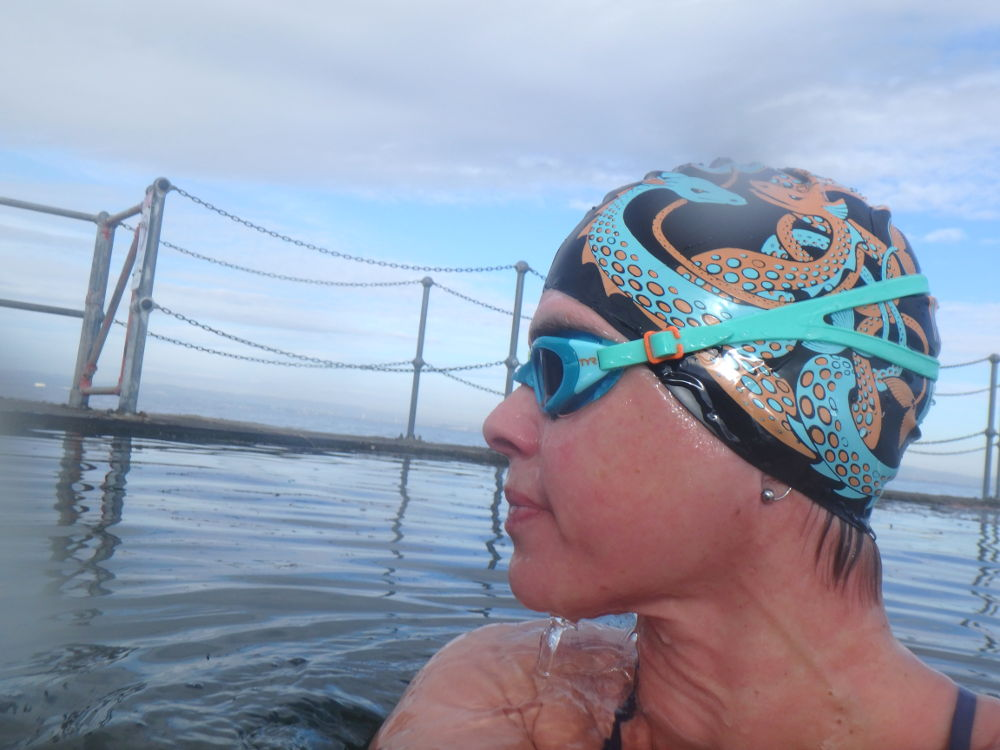 Two-colour sea monster hat in Clevedon Marine Lake