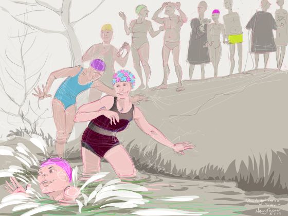 """""""How to get into a River"""" - digital drawing by Nancy Farmer"""