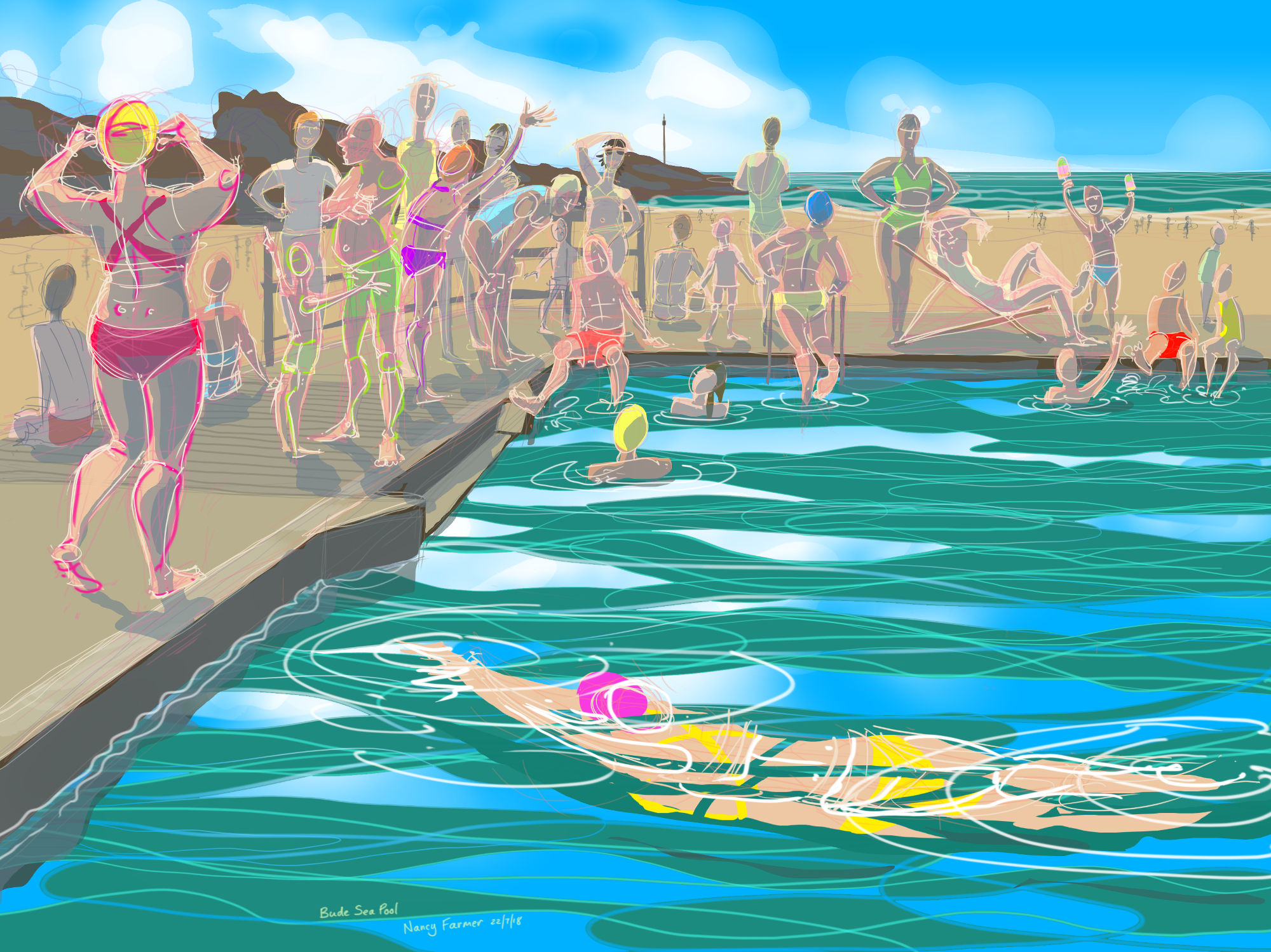 Bude Sea Pool in the Summer - Digital drawing by Nancy Farmer