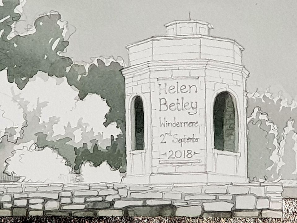 Detail of painting - The folly with swim details