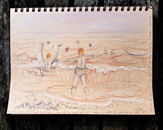 """How to Stay Dry"" ...on Clevedon Beach - sketch by Nancy Farmer"