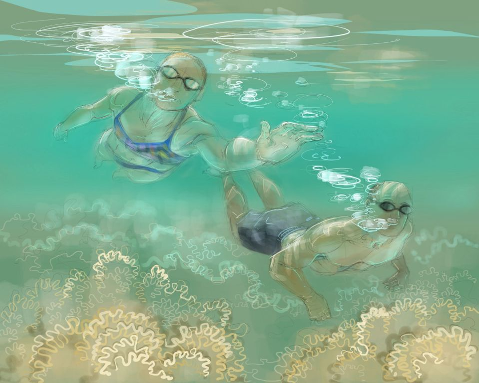Sophia, swimming. Digital drawing by Nancy Farmer