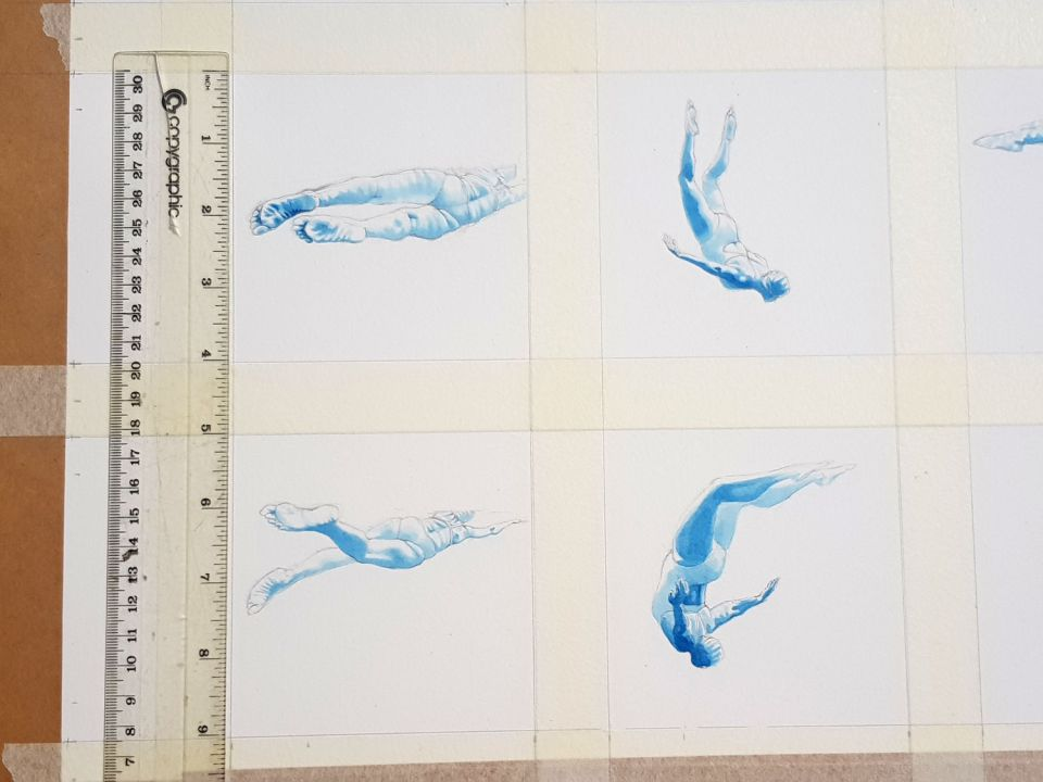 Mini swimmer paintings
