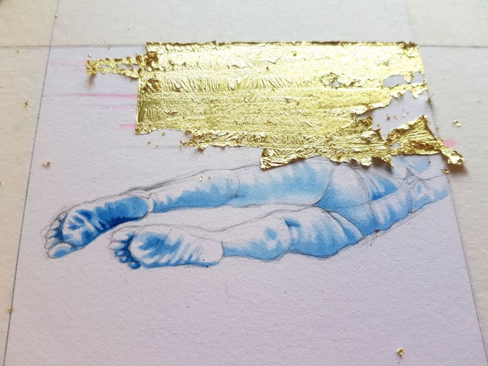 Adding gold leaf