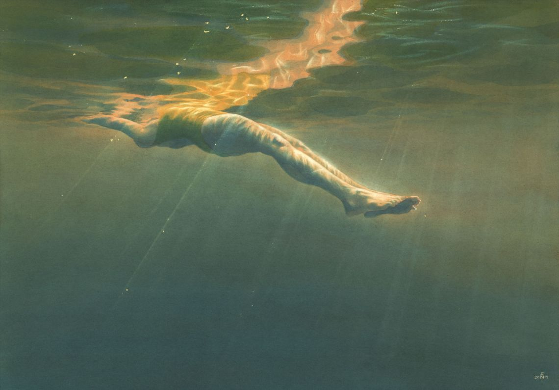 'Floating' - painting in watercolour with gold leaf detail