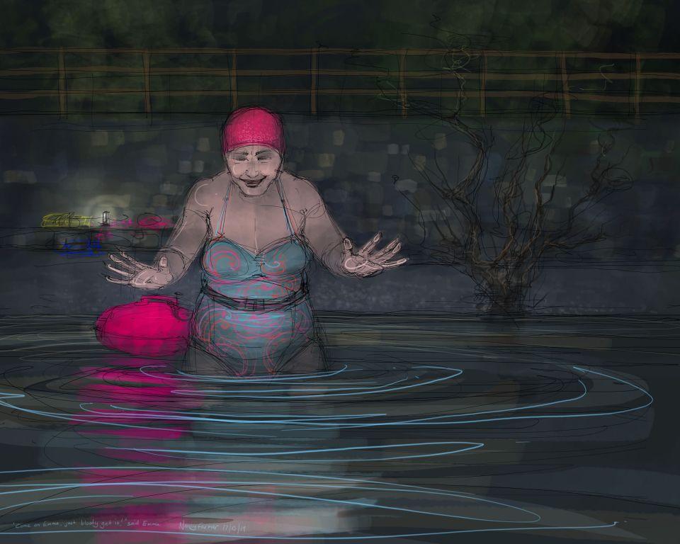 Emma's first swim in Derwentwater