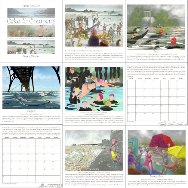 2020 calendar by Nancy Farmer - some of the images