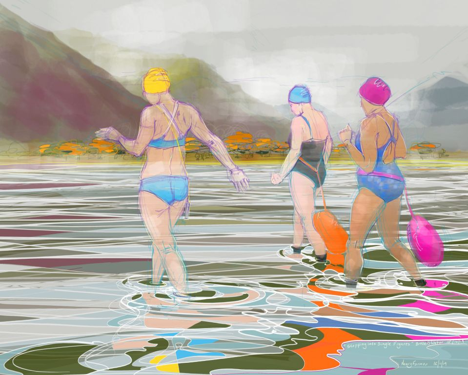 """""""Stepping into Single Figures"""" - drawing by Nancy Farmer"""