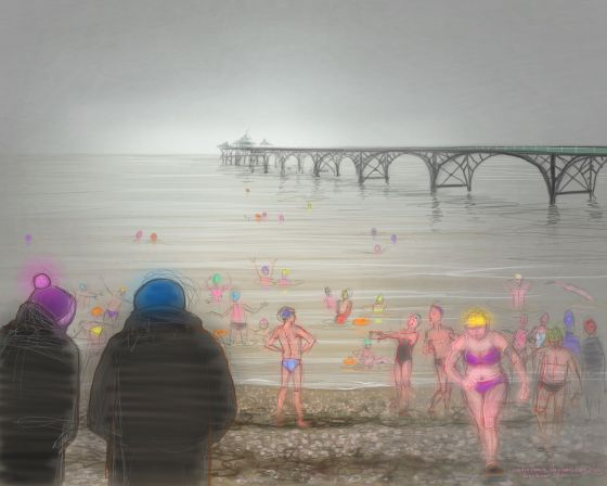 New Year's Day 2020, on Clevedon Beach. Digital drawing by Nancy Farmer