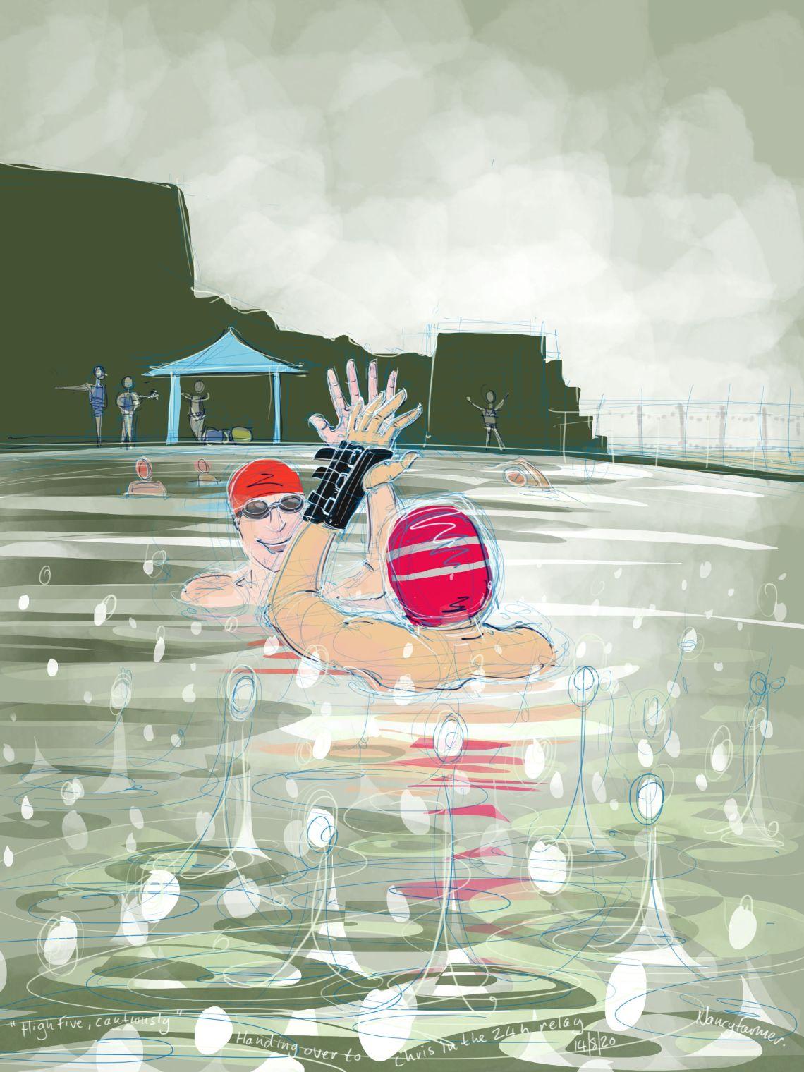 """High Five. Cautiously"" - digital drawing by Nancy Farmer"