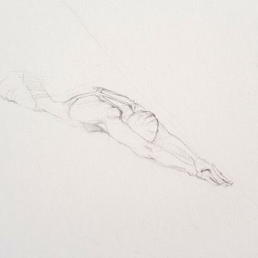 Pencil drawing on (stretched) watercolour paper