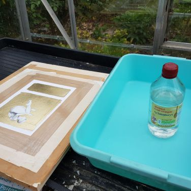 Different picture, but the same process - vinegar goes in a plastic tray.... (you take it out of the bottle, yes....)...