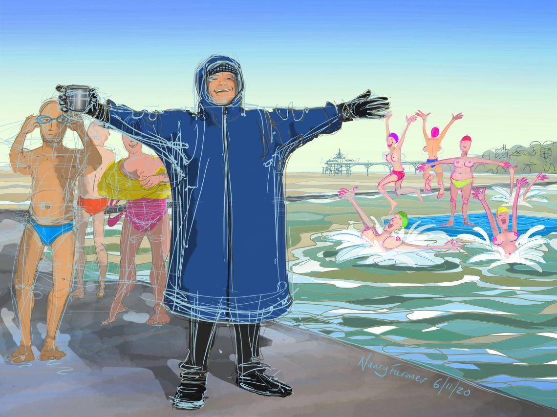 """""""Staying Sane"""" - digital drawing by Nancy Farmer"""