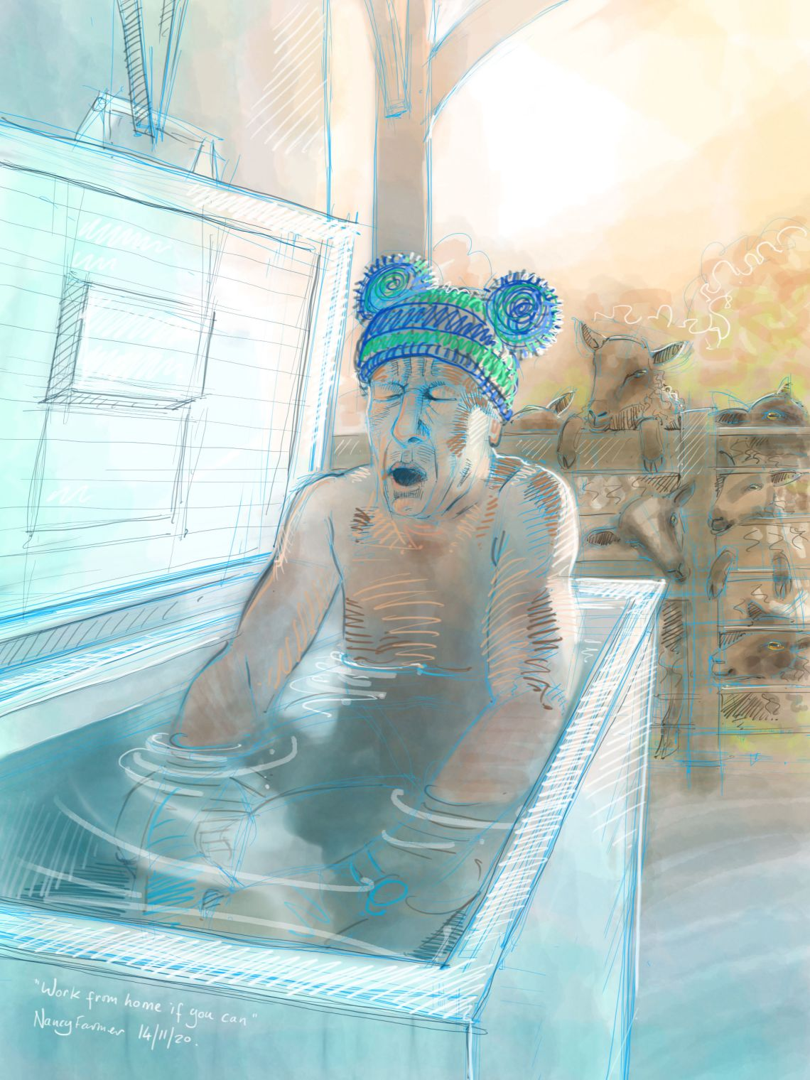 """Work from home if you can"" - digital drawing by Nancy Farmer"
