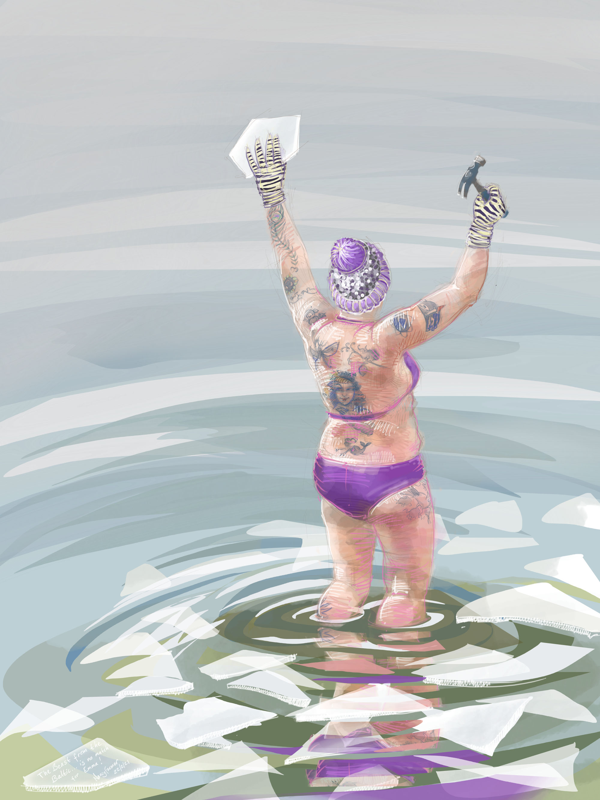 """""""The Beast from the Baltic... is no match for Emma"""" - digital drawing by Nancy Farmer"""