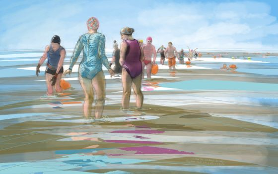 Getting into the sea at Clevedon on a Neap Tide - drawing by Nancy Farmer